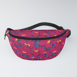 Floral Seamless Pattern with dark red Canna Lilies and blue leaves Fanny Pack