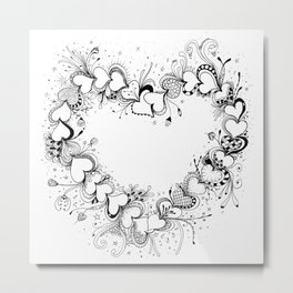 Doodle Heart Black and White Art Metal Print