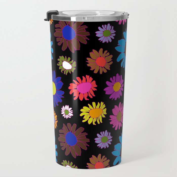 60's Daisy Crazy in Black Travel Mug