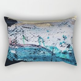 Twilight: a beautiful, abstract watercolor + mixed-media piece in blue, gold, purple, pink, + black Rectangular Pillow