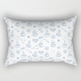 Tea time blue on white Rectangular Pillow