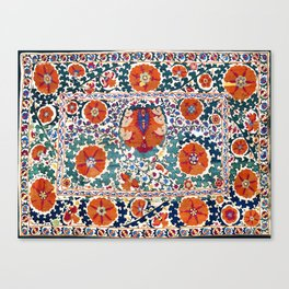 Shakhrisyabz Suzani Uzbekistan Antique Embroidery Print Canvas Print