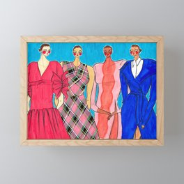 Delpozo Girls in Pre Fall 2019 – Original Fashion art, Fashion Illustration, Fashion wall art Framed Mini Art Print