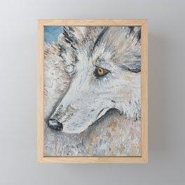 Timber Wolf in Blue Framed Mini Art Print