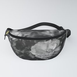 Romantic Black and White Flowers Fanny Pack