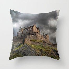 Rain Clouds Over Edinburgh Castle Throw Pillow