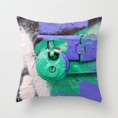 Purple and green lock Throw Pillow