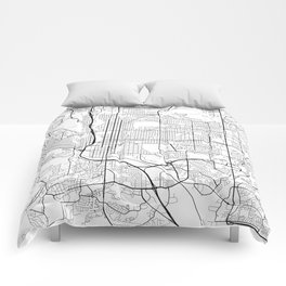 Colorado Springs Map, USA - Black and White Comforters