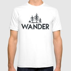 WANDER Forest Trees Tshirt Black and White Adventure Quote Text White Mens Fitted Tee SMALL