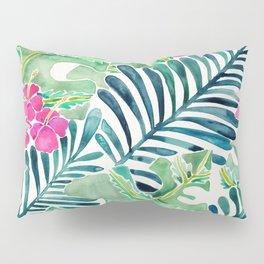 Lush Tropical Fronds & Hibiscus Pillow Sham