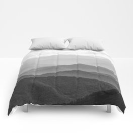 Forest Fade - Black and White Landscape Nature Photography Comforters