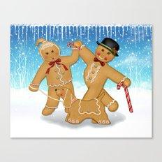 Gingerbread Family Winter Fun Canvas Print