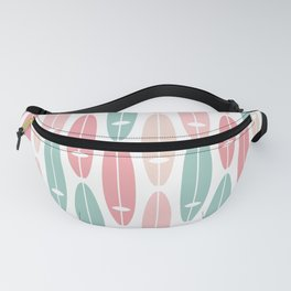 Vintage Surf Boards in Pastel Pink Fanny Pack