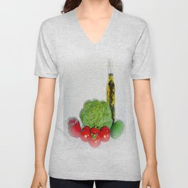 Summer Vegetables with Herb Oil Unisex V-Neck