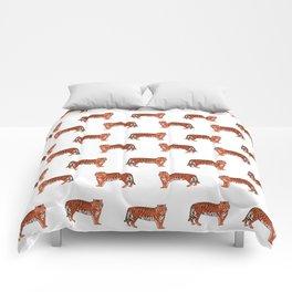Tigers orange and purple clemson football fan varsity university college athletics Comforters