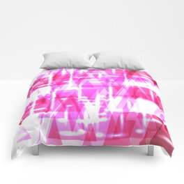 Delicate crystal pink stripes of luminous triangles and ellipse. Comforters