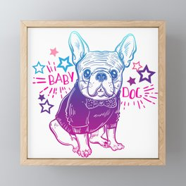 Fashionable French bulldog. Framed Mini Art Print