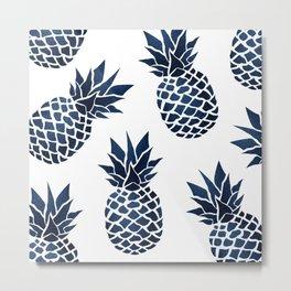 Pineapple Blue Denim Metal Print
