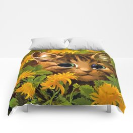 """Louis Wain's Cats """"Tabby in the Marigolds"""" Comforters"""