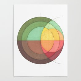 Concentric Circles Forming Equal Areas Poster