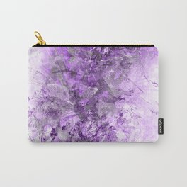 Ultra Violete and White Floral Grunge Carry-All Pouch
