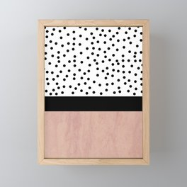 Pink marble and dots Framed Mini Art Print