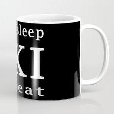eat sleep ski repeat black Mug