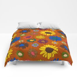Funky Fall Harvest Floral in Terracotta Rust Comforters