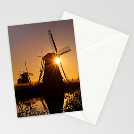 Dutch Windmills of Kinderdijk at sunrise Stationery Cards