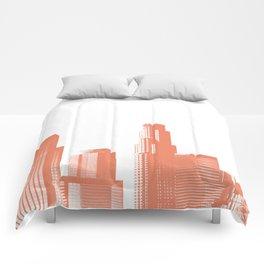 Orange Los Angeles skyline Comforters