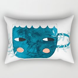 blue cup drink watercolor illustration Rectangular Pillow