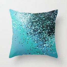 Aqua Blue OCEAN Glitter #1 #shiny #decor #art #society6 Throw Pillow