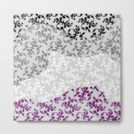 Ace flag fleur-de-lis black gray white purple waves Metal Print