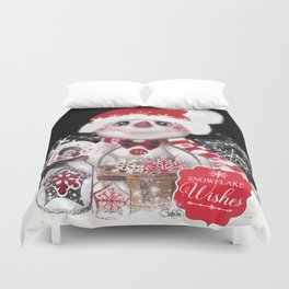 Snowflake Wishes Snowman Duvet Cover