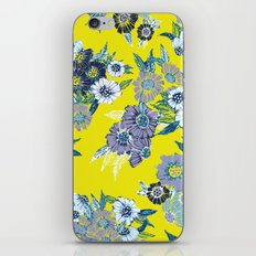 Floral pattern in Neon yellow iPhone & iPod Skin