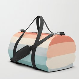 striped color pattern - red , orange, grey, green, Duffle Bag