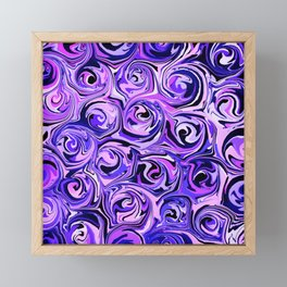 Violet and Lilac Paint Swirls Framed Mini Art Print