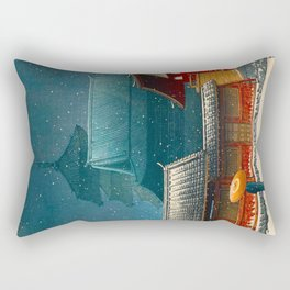 Vintage Japanese Woodblock Print Japanese Red Shinto Shrine Pagoda Winter Snow Rectangular Pillow