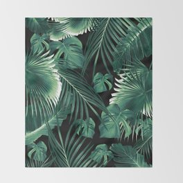 Tropical Jungle Leaves Dream #6 #tropical #decor #art #society6 Throw Blanket