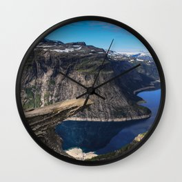 Trolltunga on a Blue Sky Day in Norway Wall Clock
