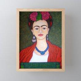 Frida portrait with dalias Framed Mini Art Print