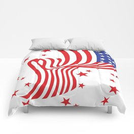 AMERICAN FLAG  & RED STARS JULY 4TH ART Comforters