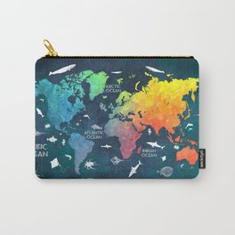 Ocean World Map color #map #worldmap Carry-All Pouch