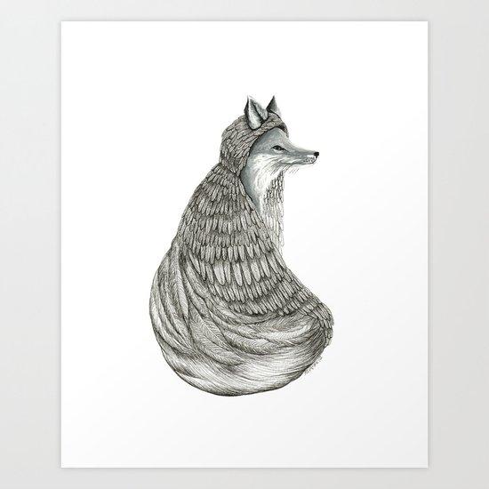 Fox- Feathered. Art Print