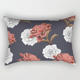 red and white floral pattern Rectangular Pillow