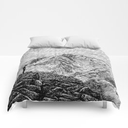 Child on the rock - Black ink Comforters