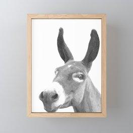 Black and white donkey Framed Mini Art Print