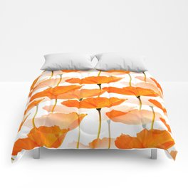 Orange Poppies On A White Background #decor #society6 #buyart Comforters