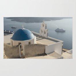 Firostefani Church and Cruise Ships, Santorini Rug