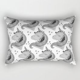 MAGICAL DREAMING UNICORN - BLACK AND WHITE Rectangular Pillow